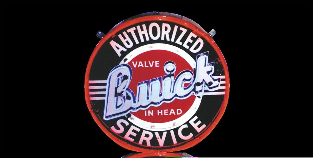 1950s Buick Valve-In-Head single-sided porcelain neon dealership sign. - Front 3/4 - 45980