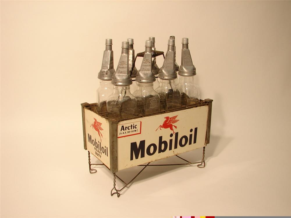 "Scarce 1920s-30s Mobil Oil bottle rack with eight original Gargoyle ""Filpruf"" bottles. - Front 3/4 - 46037"