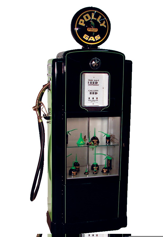 Gorgeous 1938 Polly Gasoline professionally restored Wayne model #71 showcase gas pump. - Front 3/4 - 46038
