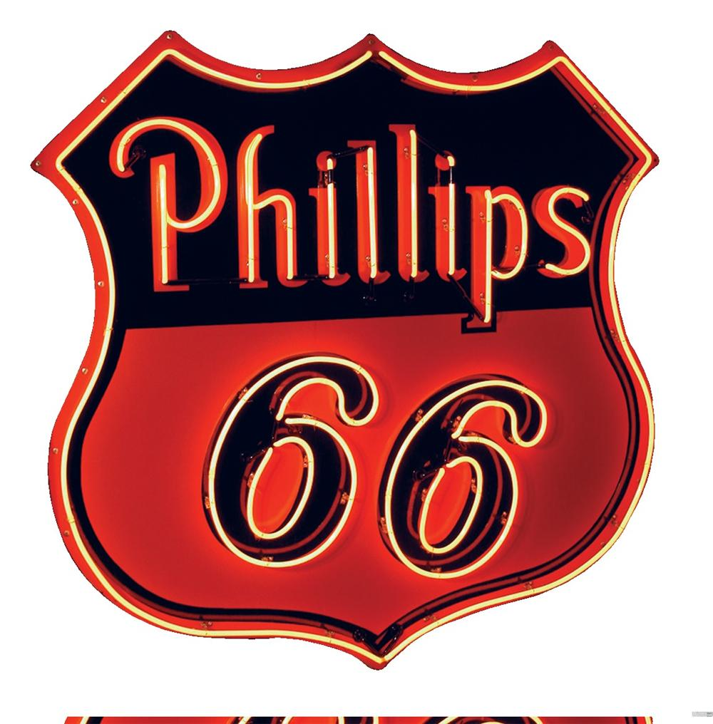 Stunning large 1950s Phillips 66 single-sided neon porcelain dealership sign. - Front 3/4 - 46044
