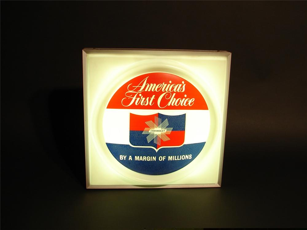 "Awesome late 50s-early 60s Chevrolet ""Americas First Choice"" light-up showroom sign. - Front 3/4 - 46046"