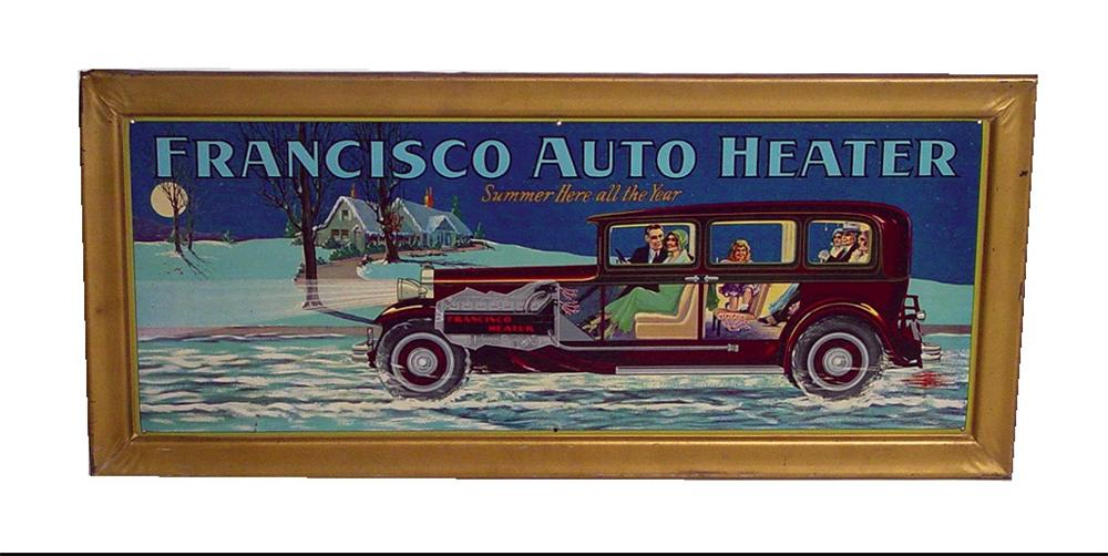 Museum quality late 20s-early 30s Francisco Auto Heaters single-sided self-framed tin litho dealership sign. - Front 3/4 - 46048