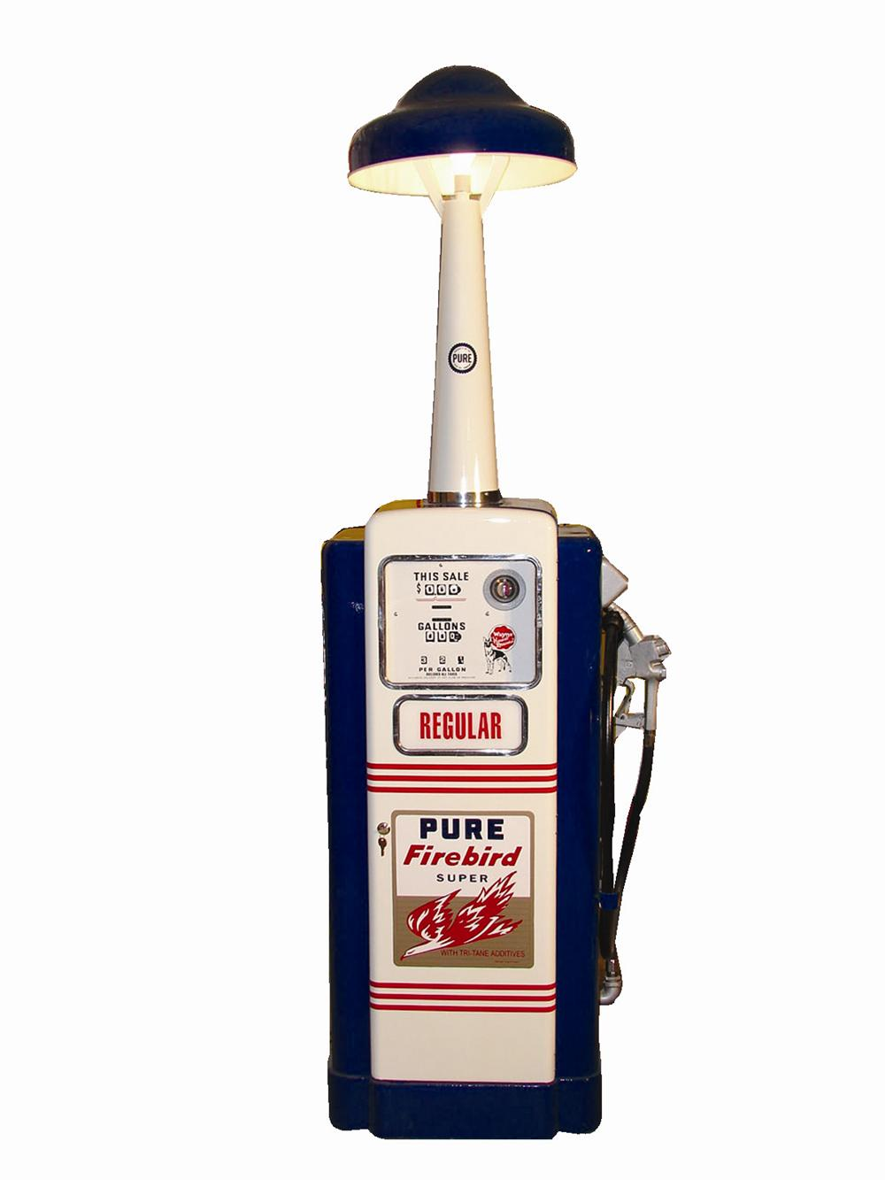Out of the ordinary professionally restored 1950s Pure Firebird Super Wayne Model #100 gas pump with island lighting unit. - Front 3/4 - 46050