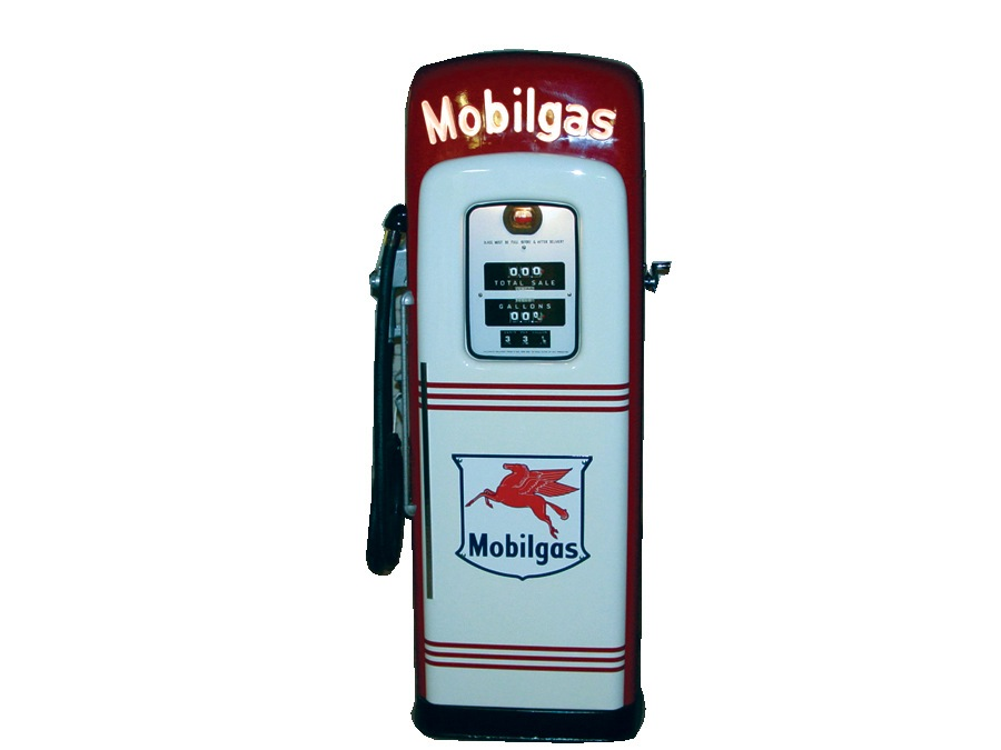 "Sharp late 40s Mobilgas lighted ""script top"" gas pump by Martin and Schwartz. - Front 3/4 - 46051"