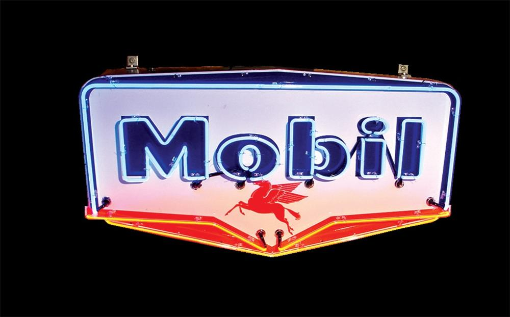 Stellar late 50s Mobil Gasoline single-sided porcelain neon station sign with Pegasus logo. - Front 3/4 - 46052