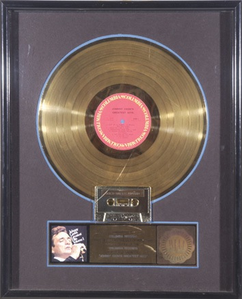 Johnny Cash original RIAA sales award for Johnny Cashs Greatest Hits Volume 1 - Front 3/4 - 46303