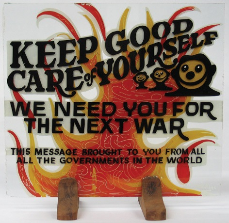 Von Dutch Keep Good Care of Yourself Handcrafted Sign Painted by Von Dutch. 28.50 x 25.50 cm. (11.12 x 9.95 in.) NO RESERVE. - Front 3/4 - 46306