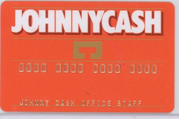 Johnny Cash prototype personalized ATM card, 1980. - Front 3/4 - 46316