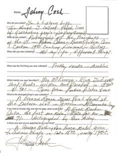 Johnny Cash handwritten and double signed questionnaire for Collecting magazine. NO RESERVE. - Front 3/4 - 46436