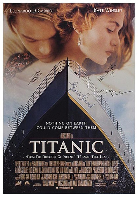 Titanic Original Movie Poster signed by Kate Winslet, Leonardo DiCaprio, Gloria Stuart, Bill Paxton, and Kathy Bates. - Front 3/4 - 46452