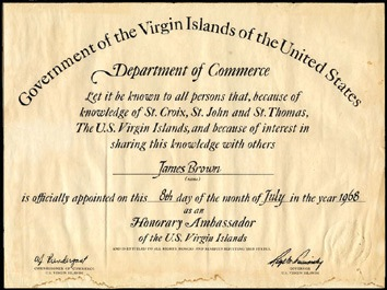 James Brown award, 1968. A certificate officially appointing the Godfather of Soul as Honorary Ambassador to the U. S. Virgin Islands on 8th July 1968. - Front 3/4 - 46473