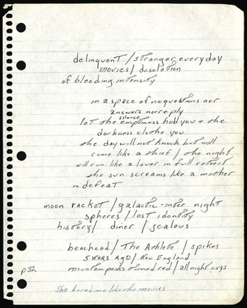 Bruce Springsteen handwritten lyrics. A page of lined notepaper with handwritten lyrics. - Front 3/4 - 46555