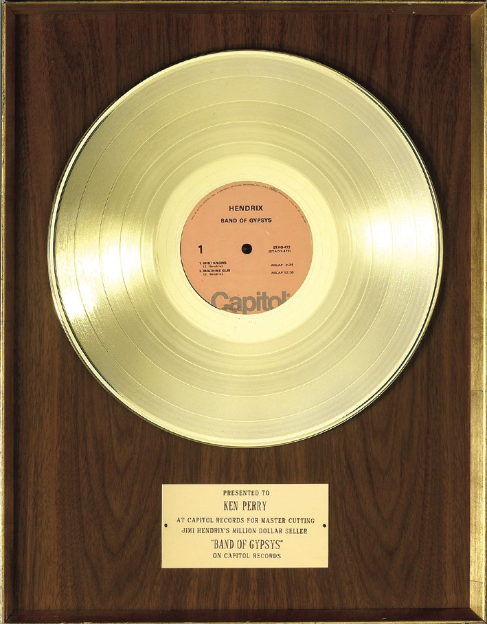 Jimi Hendrix Band of Gypsys Gold Record