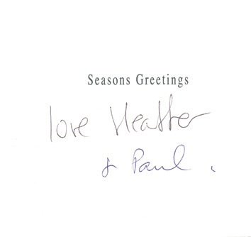 Paul McCartney and Heather Mills Order of Service for their marriage on 11th June 2002, gift to guests and a signed Christmas card. - Rear 3/4 - 46621