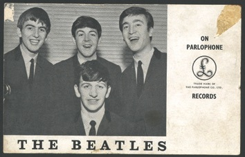 The Beatles - George Harrison signed Parlophone promo card, 1963. - Front 3/4 - 46622