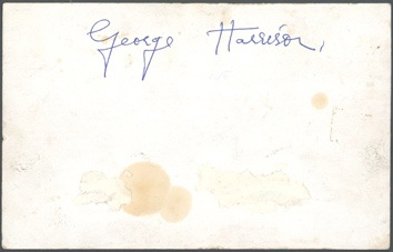 The Beatles - George Harrison signed Parlophone promo card, 1963. - Rear 3/4 - 46622