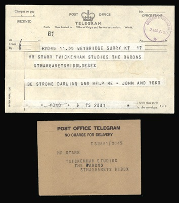 The Beatles Telegram from John and Yoko to Ringo, 1969. - Front 3/4 - 46633