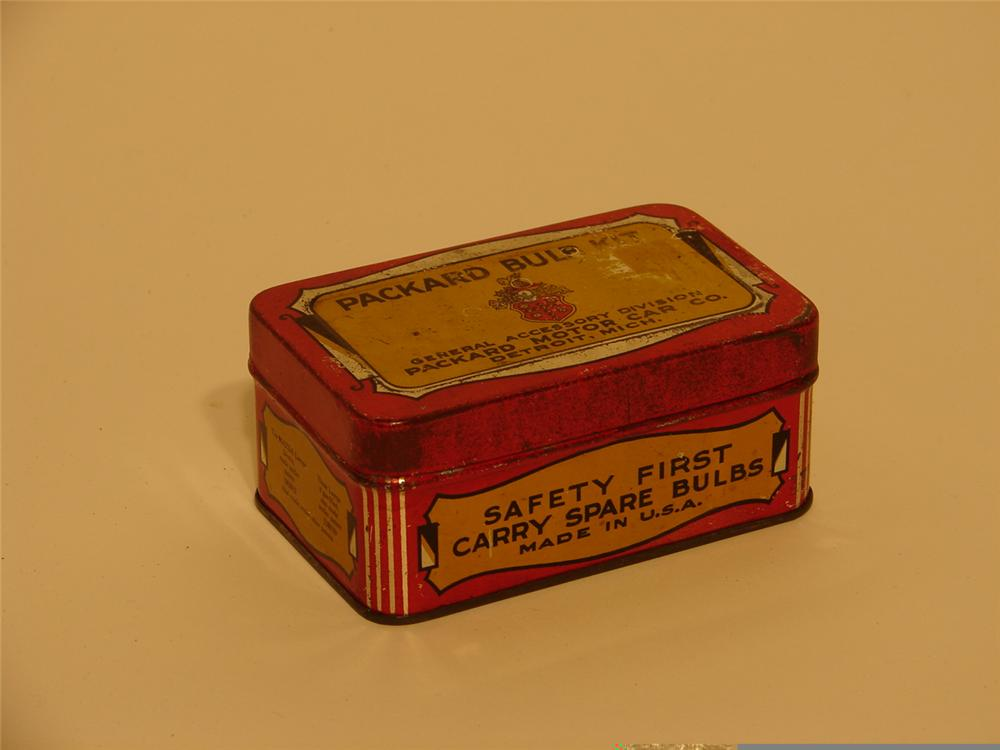 1930s Packard Automobiles emergency bulb kit tin.  Exceptional. - Front 3/4 - 46639