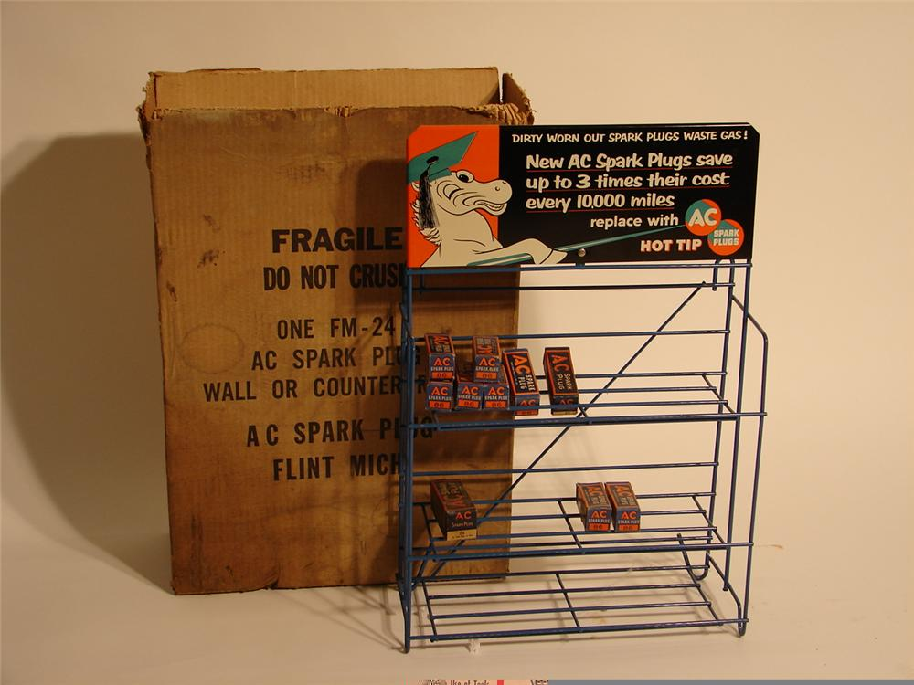 N.O.S. 1940s AC Spark Plugs metal wall or counter-rack still in the original box. - Front 3/4 - 46641