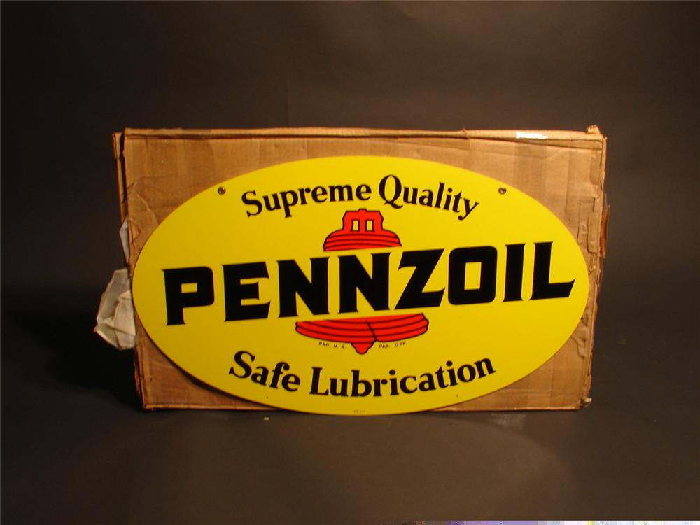 N.O.S. Pennzoil Motor Oil double-sided die-cut tin station sign still in the original shipping box. - Front 3/4 - 46649