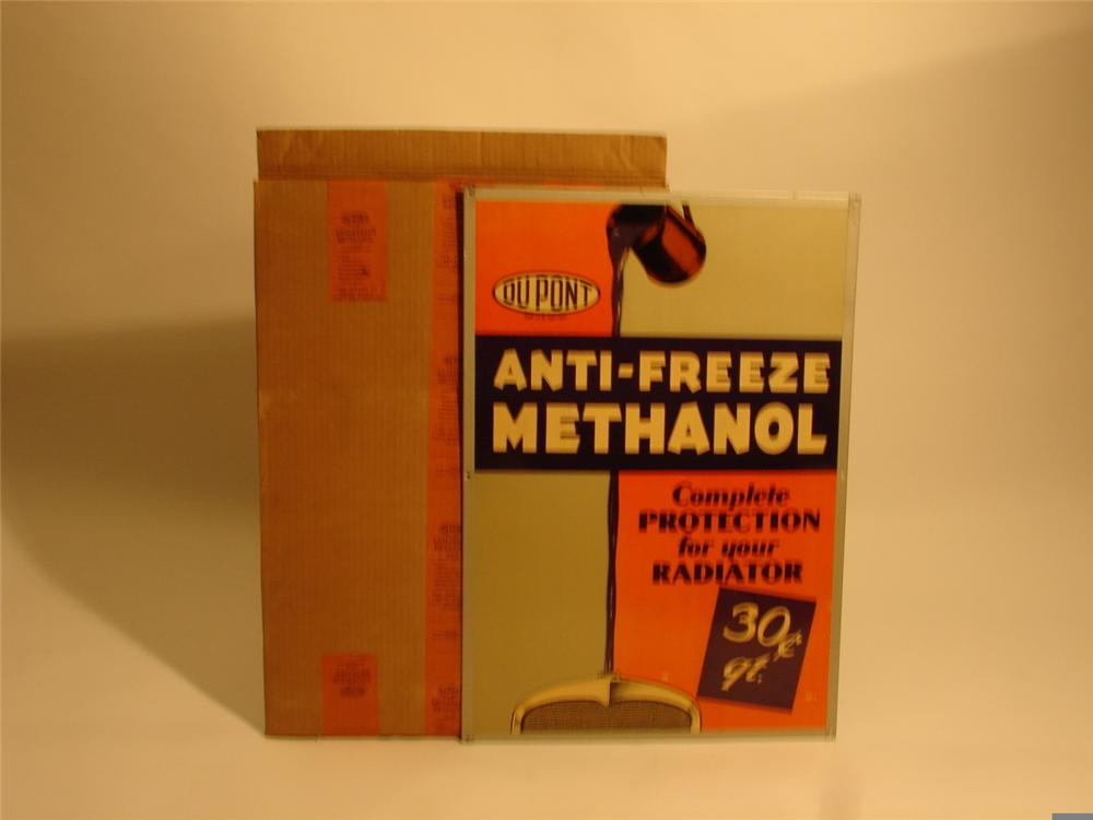 N.O.S. 1930s DuPont Methanol Anti-Freeze single-sided cardboard with original metal frame. - Front 3/4 - 46650