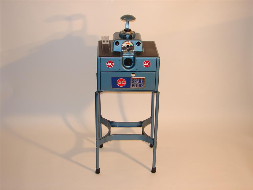 N.O.S. late 50s-early 60s AC Sparkplugs station cleaner on stand. - Front 3/4 - 46652