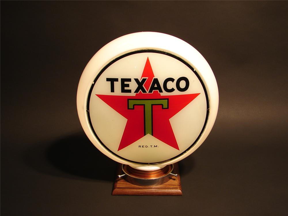 N.O.S. 1930s Texaco narrow bodied gas pump globe with copper basin. - Front 3/4 - 46657