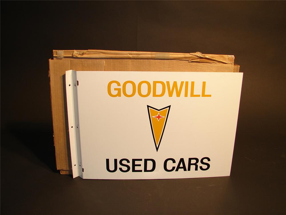 N.O.S. late 60s Pontiac Goodwill Used Cars double-sided tin dealership flange sign. - Front 3/4 - 46660