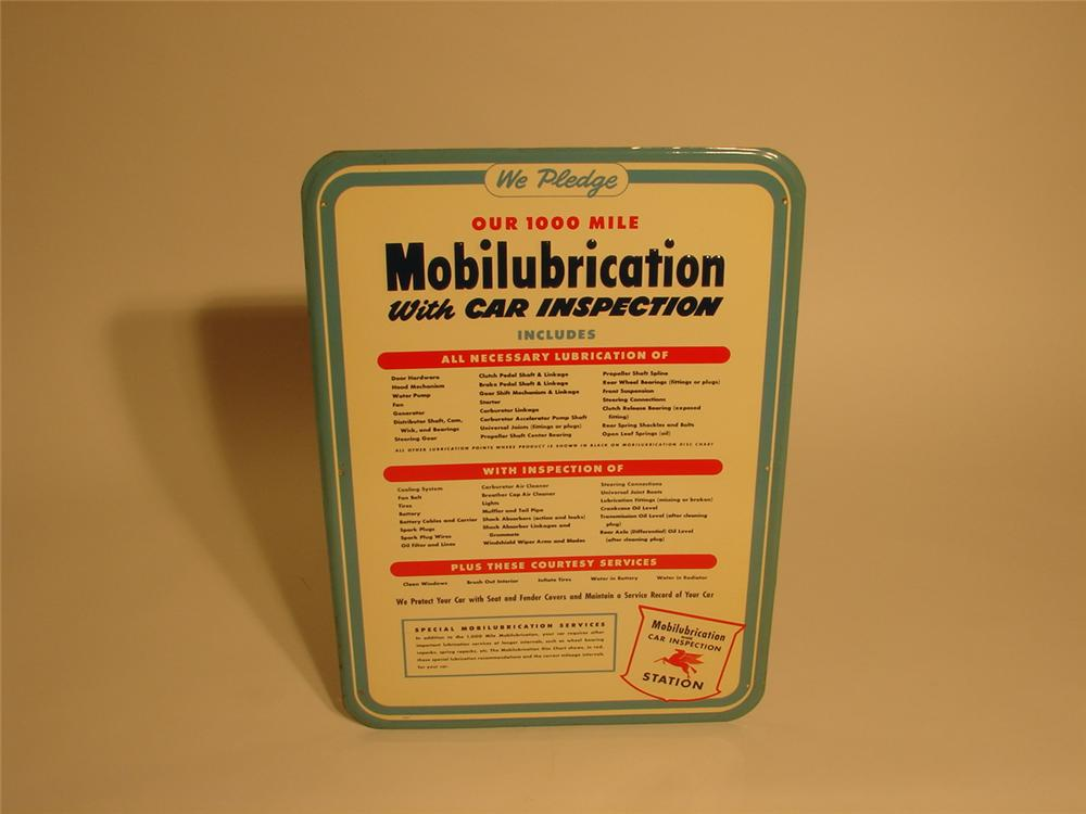 N.O.S. late 40s Mobilubrication station pledge tin sign. - Front 3/4 - 46663