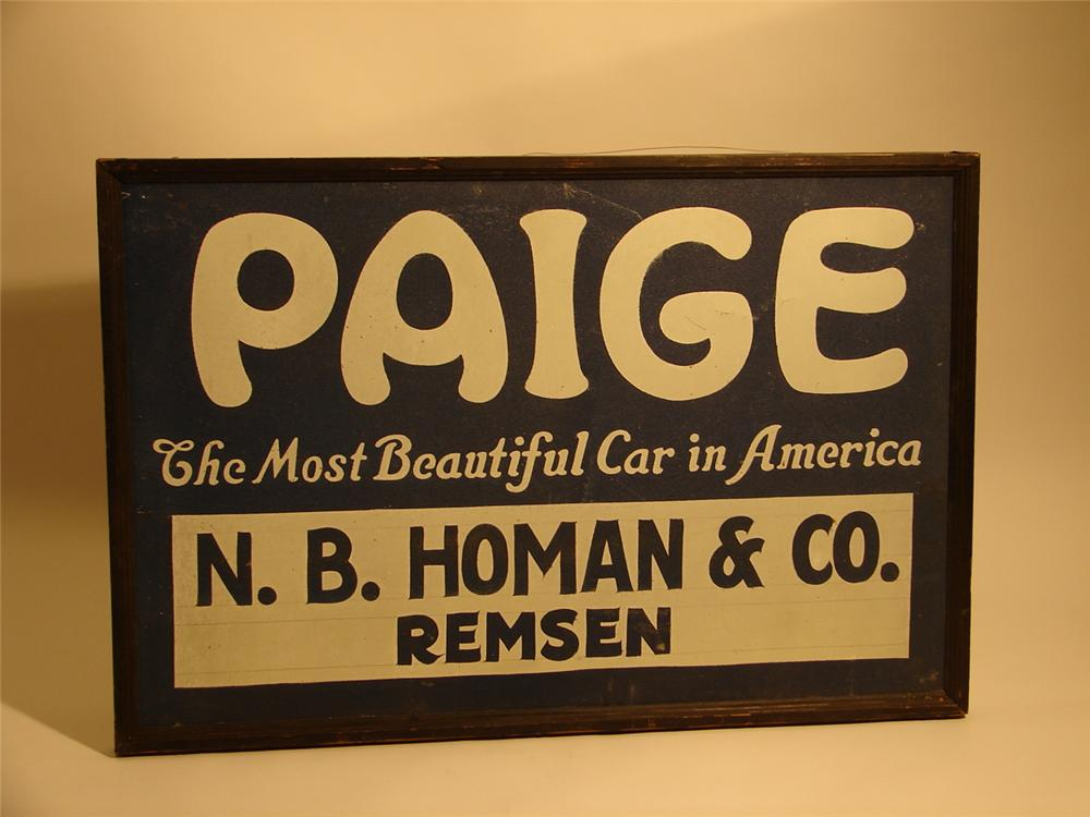 N.O.S. 1930s  Paige Automobiles single-sided tin garage sign with original wood frame. - Front 3/4 - 46664