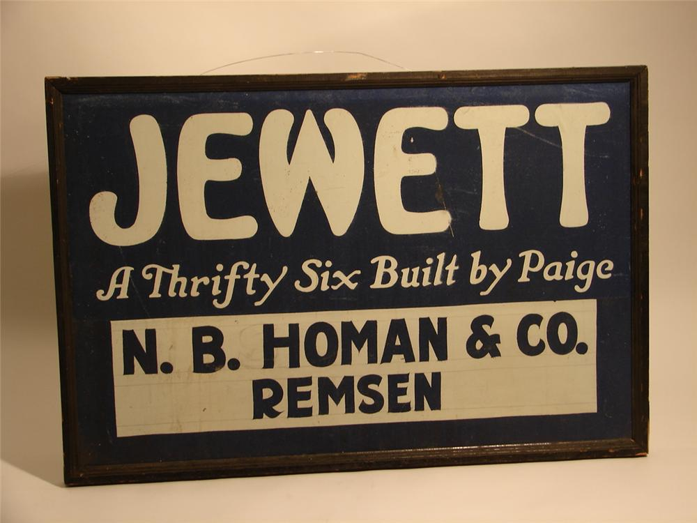 N.O.S. 1930s Jewett Automobiles single-sided tin garage sign. - Front 3/4 - 46665