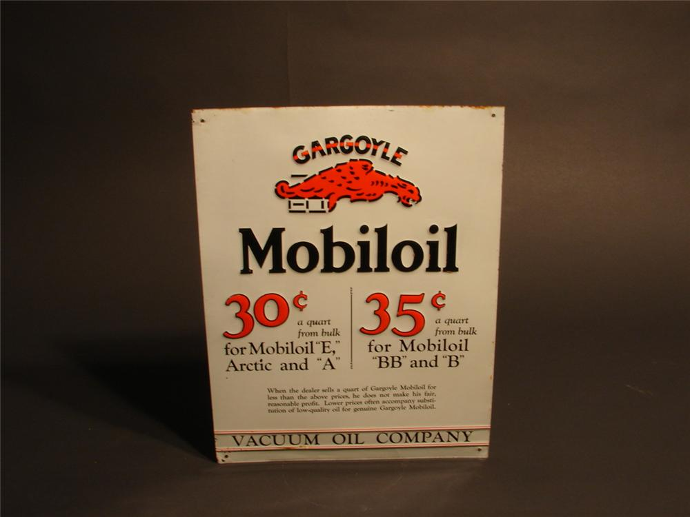 N.O.S. 1920s Gargoyle Motor Oil station price sign. - Front 3/4 - 46671