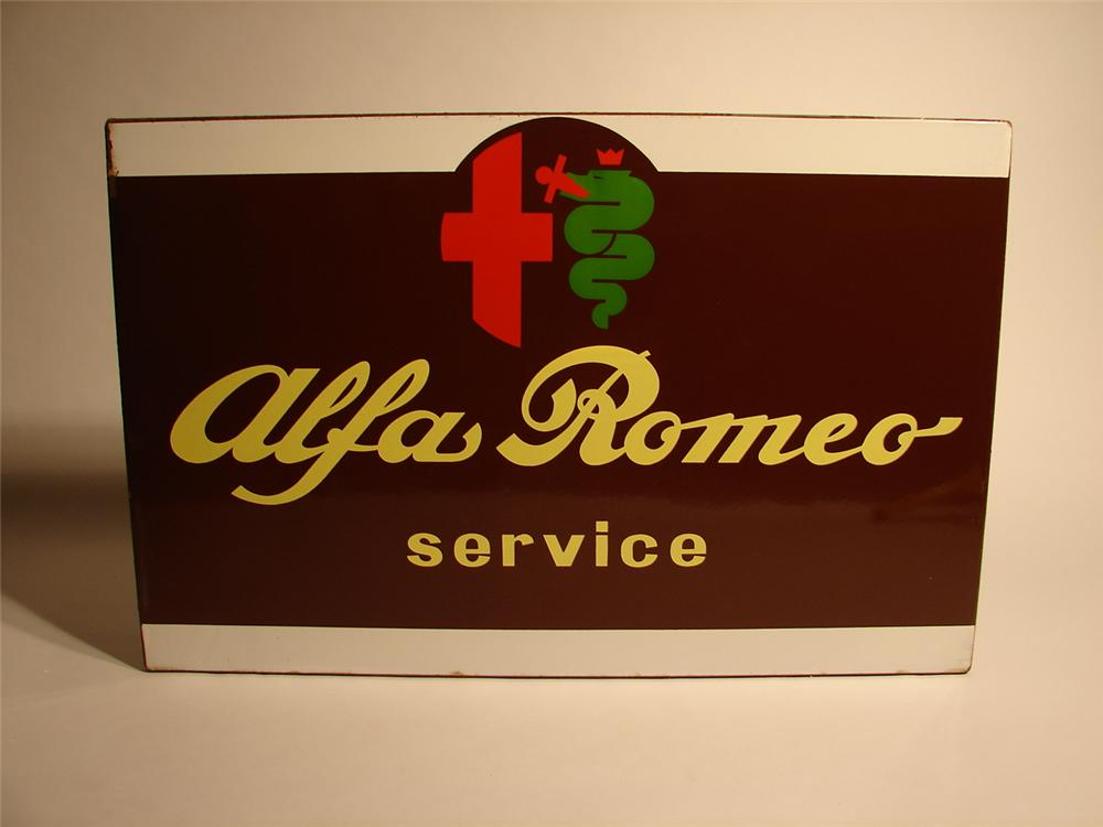 Hard to find 1960s Alfa Romeo Service single-sided porcelain dealership sign. - Front 3/4 - 46673