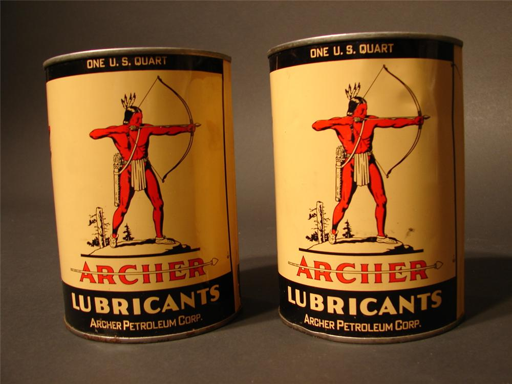 Lot of two N.O.S. 1950s Archer Lubricant metal quart cans. - Front 3/4 - 46676