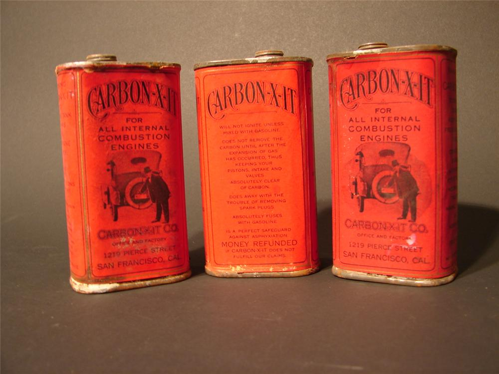 Lot of three N.O.S. late teens Carbon X-It fuel additive eight ounce tins. - Front 3/4 - 46678