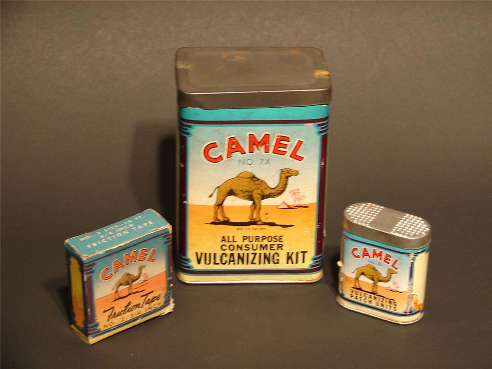 Lot of three N.O.S. 1940s Camel all purpose vulcanizing tire repair kits. - Front 3/4 - 46680