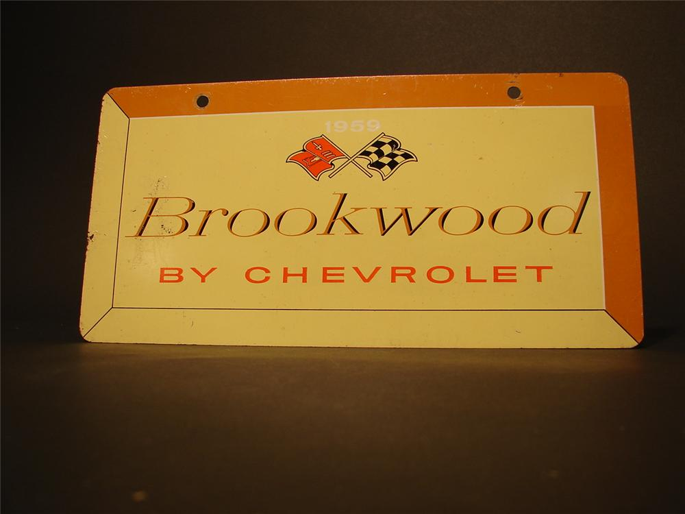 N.O.S. original 1959 Brookwood by Chevrolet tin showroom/car display sign. - Front 3/4 - 46682
