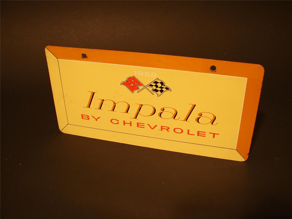 N.O.S. original 1959 Impala by Chevrolet tin showroom/car display sign. - Front 3/4 - 46683