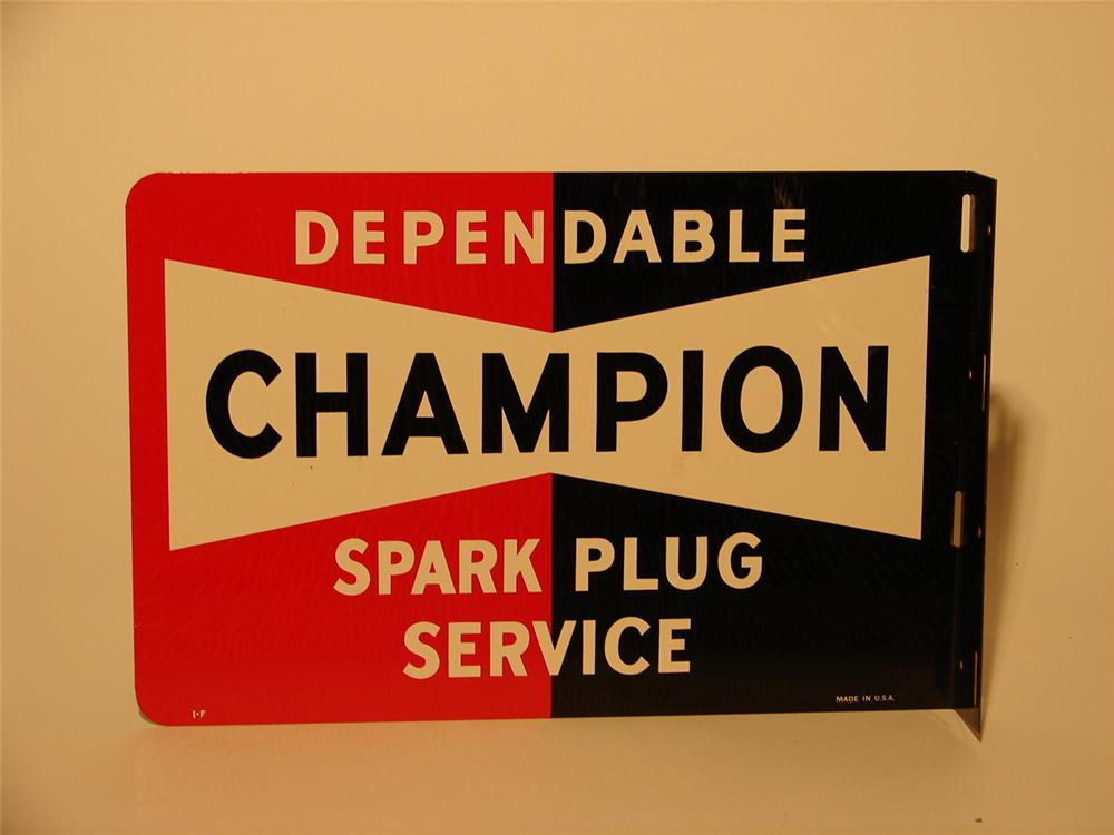 N.O.S. late 50s Champion Spark Plugs double-sided tin garage flange sign. - Front 3/4 - 46688