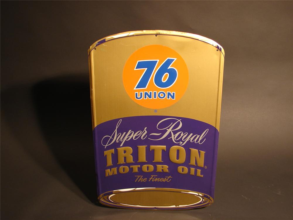 Unusual 1950s Union 76 Super Royal Triton Motor Oil can-shaped die-cut tin sign. - Front 3/4 - 46689