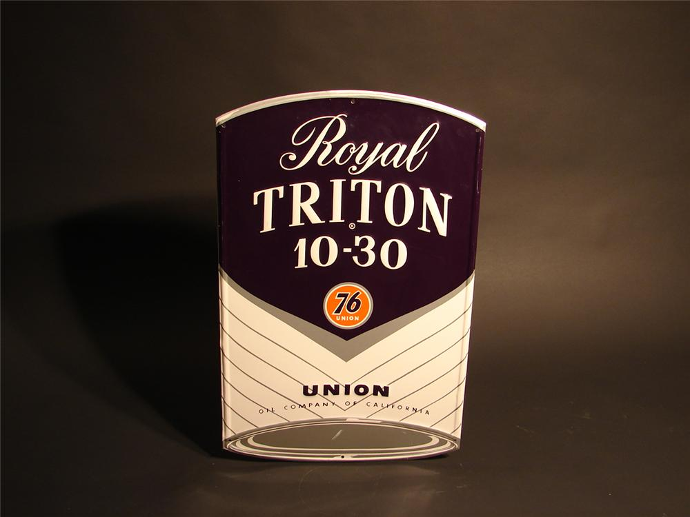 N.O.S. 1950s Royal Triton 10-30 Motor Oil can-shaped die-cut tin sign. - Front 3/4 - 46690