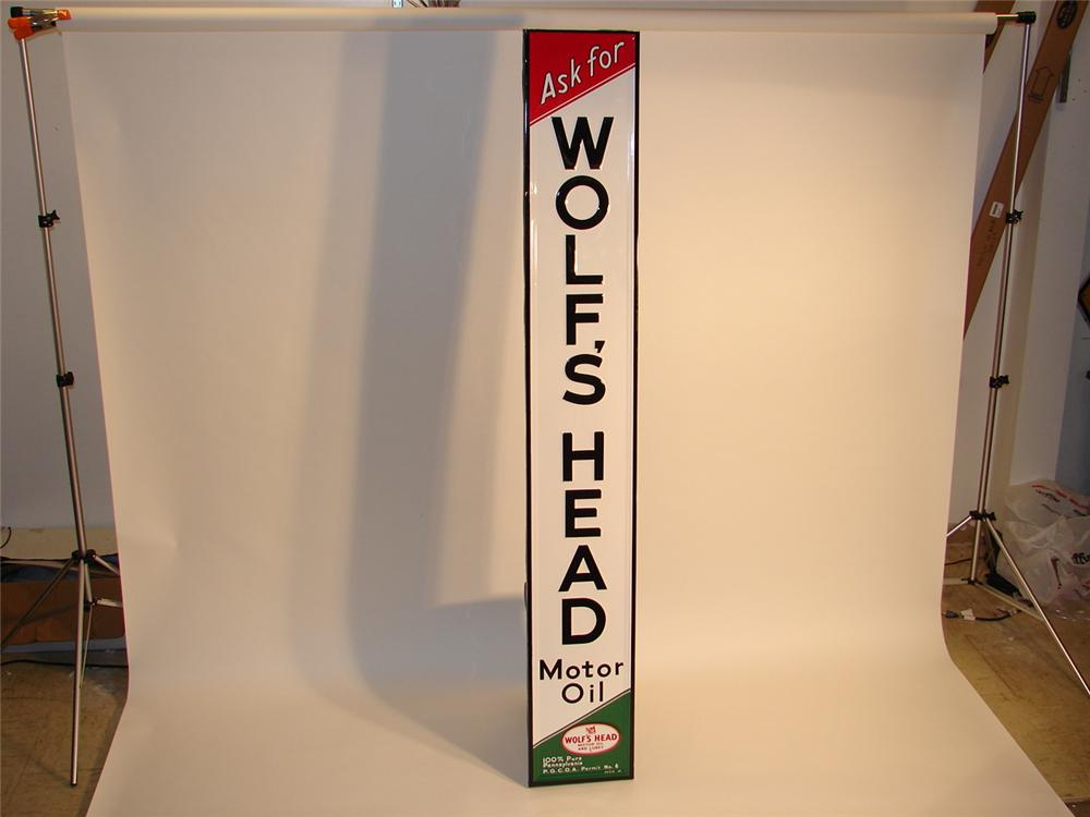 N.O.S. 1954 Wolfs Head Motor Oil single-sided tin embossed garage sign with wood framed reverse. - Front 3/4 - 46694