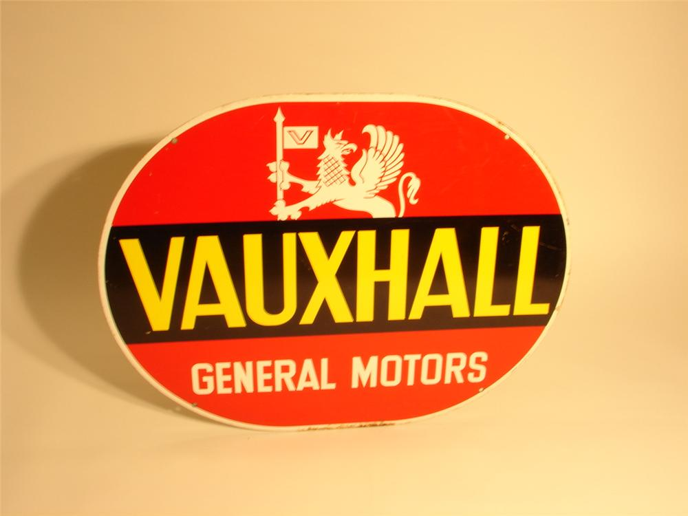 1950s Vauxhaull General Motors double-sided tin dealership sign. - Front 3/4 - 46696