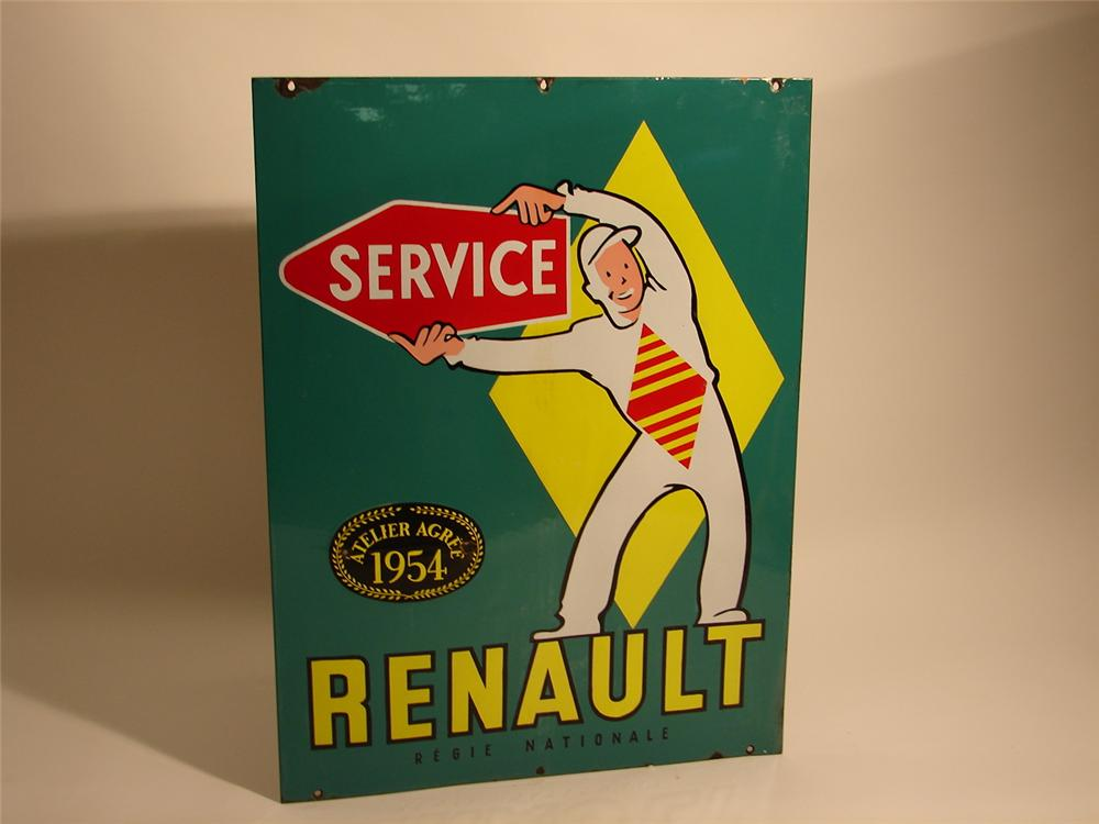 Incredible 1954 Renault Service double-sided porcelain dealership sign. - Front 3/4 - 46697