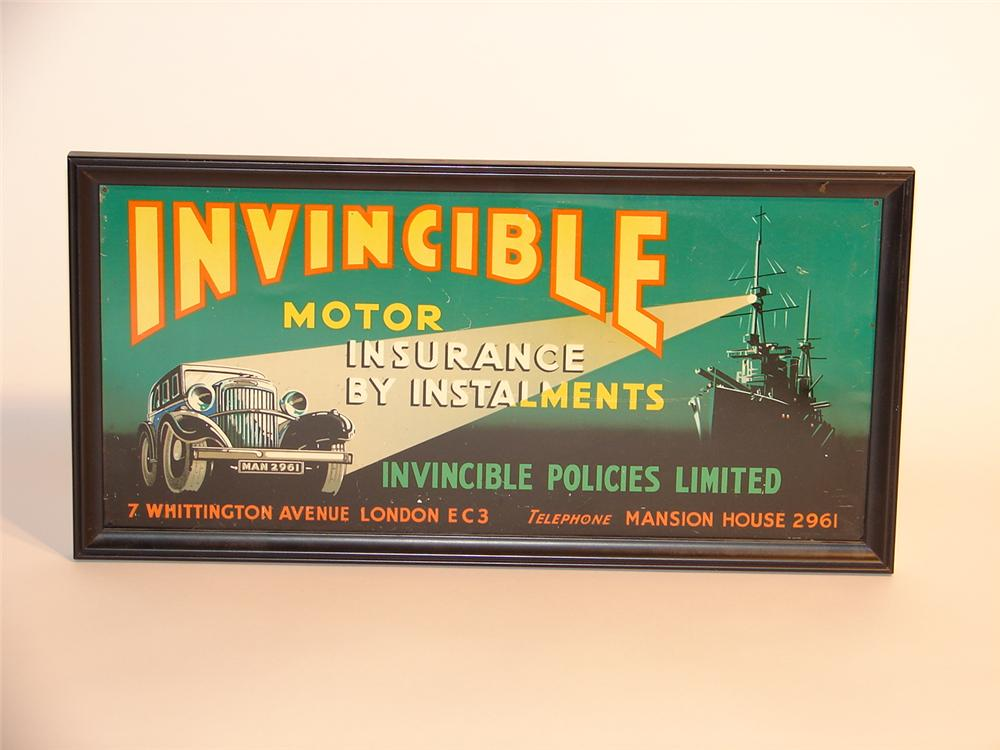 Remarkable 1930s Invincible Motor Insurance single-sided tin sign. - Front 3/4 - 46700