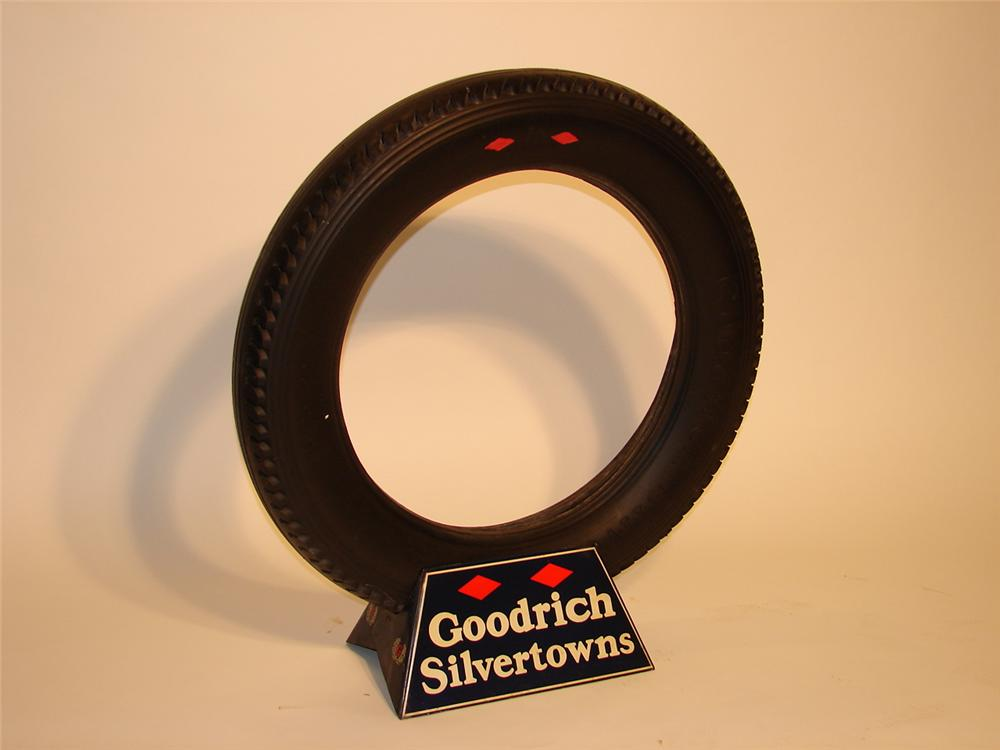 Museum quality 1930s Goodrich Silvertowns metal tire garage display complete with original tire. - Front 3/4 - 46701