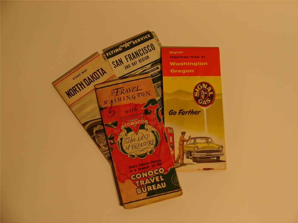 Lot of four vintage road maps 1930s-50s. - Front 3/4 - 46714