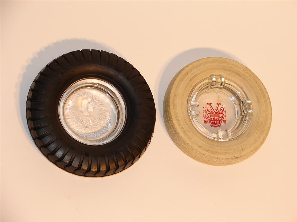 Lot of two 1940s tire promotional garage ashtrays. - Front 3/4 - 46715