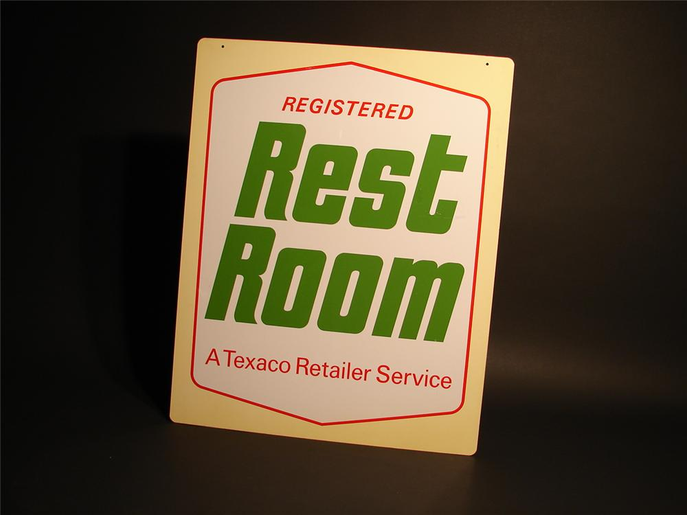 "N.O.S. 1960s Texaco ""Registered Rest Rooms"" double-sided tin station sign. - Front 3/4 - 46724"