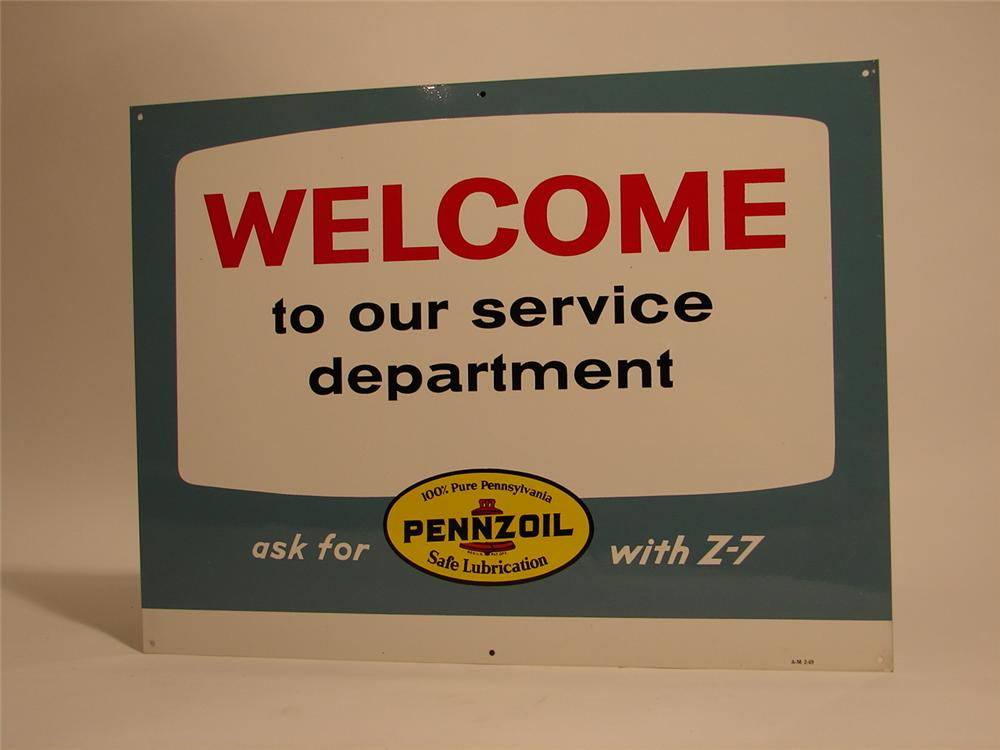 "N.O.S. Pennzoil ""Welcome to Our Service Dept."" tin station sign. - Front 3/4 - 46726"